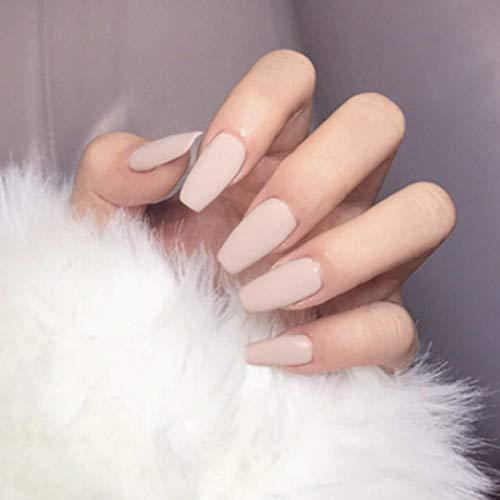 Handcess Sarg matt gefälschte Nägel Medium Nude Pink Ballerina Drücken Sie auf die Nägel Reine Farbe Vollständige Abdeckung Falsche Nägel Stick auf die Nägel für Frauen und Mädchen (24 Stück)