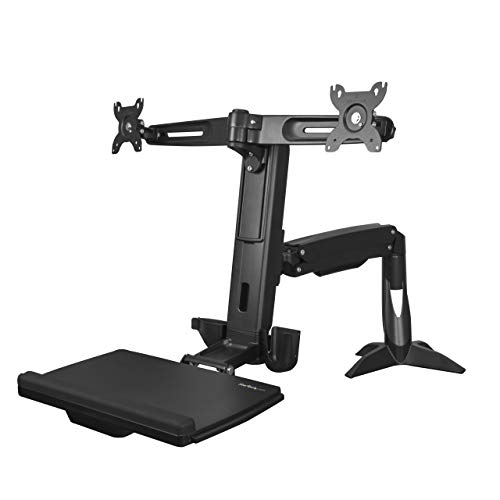 StarTech.com Sit Stand Dual Monitor Arm - Desk Mount Dual Computer Monitor Adjustable Standing Workstation for up to 24' Displays - VESA Ergonomic Stand Up Desk Converter w/Keyboard Tray (ARMSTSCP2)