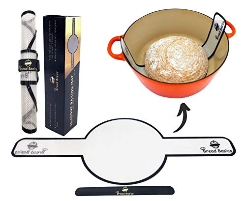 """Bread Basics Silicone Baking Mat for Dutch Oven Bread Baking w/Storage Band - Long Handles for Gentler & Safer Transfer of Dough - Easy to Clean - Eco-Friendly Alternative for Parchment Paper - 9.4"""""""