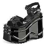 VOMIRA Women's Platform Sandals Wedge Open Toe High Heel Punk Sandals Heart Ankle Buckle Strap Goth Cosplay Dress Shoes