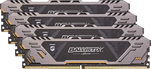 Crucial Ballistix Sport at 2666 MHz DDR4 DRAM Desktop Gaming Memory Kit 32GB (8GBx4) CL16 BLS4K8G4D26BFSTK