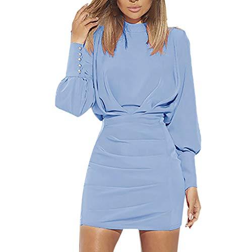 iHENGH Damen Frühling Sommer Rock Bequem Lässig Mode Kleider Frauen Röcke Frauen Sexy O-Neck Langarm Reine Farbe Backless Gesäß Kleid(Blau, S)