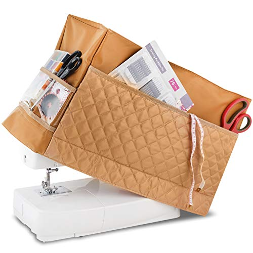 Addicted DEPO Sewing Machine Cover with 3 Convenient Pockets - Protective Quilted Dust Cover Pro - Universal for Most Standard Singer & Brother Machines - | Rodi's (Beige)