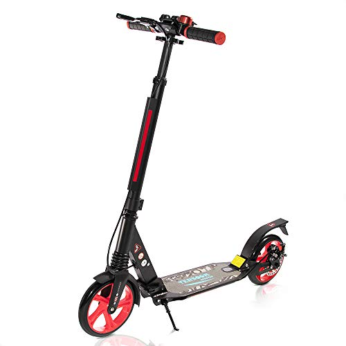 TENBOOM Kick Scooter Cityroller Adult - Patinete de doble suspensión, gran rueda de aluminio, plegable, altura regulable, para niños, con freno de mano y campana