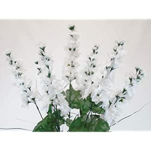 24″ Inch Bouquet White Delphinium Bush Artificial Silk Flowers