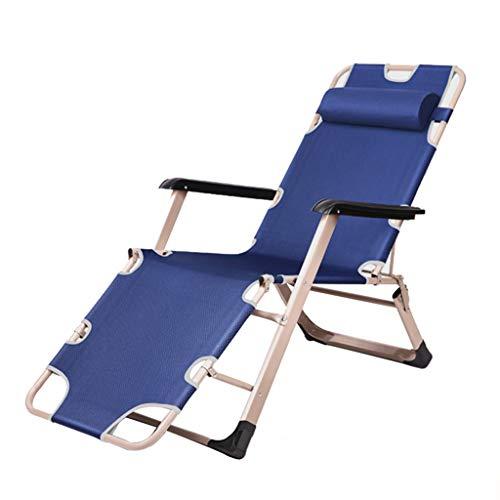 Strandstühle Lounger Chair Oxford Cloth (Blau) mit Kopfstütze Faltbarer, tragbarer Multifunktions-Solarium für Erwachsene mit Einem Gewicht von 150 kg