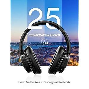 [Verbesserte]Mpow H7 Bluetooth Kopfhörer over Ear, over Ear Kopfhörer mit Kräftigen Bass-Sound, 25 Stunden Spielzeit, Memory-Protein Ohrpolster, CVC6.0 Mikrofon Freisprechen für Smartphone/PC, Schwarz