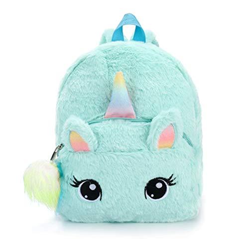 Unicorn Backpack Cute Plush Bookbag Kids School Bag Furry Rucksack for Girls (Unicorn Backpack for Blue)