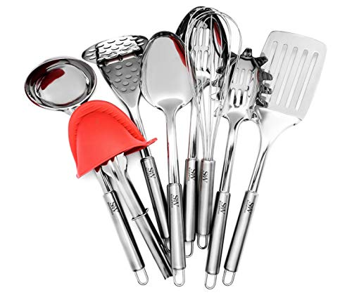 Stainless Steel Kitchen Utensil Set, 11 Piece Cookware –...
