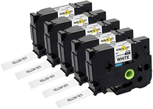 Yellow Yeti 5 Schriftbander TZe-241 TZ-241 schwarz auf weiß 18mm x 8m Etikettenbänd kompatibel für Brother P-Touch PT-2030VP PT-D400 PT-D450VP PT-D600VP PT-E300VP PT-H300 PT-H500 PT-P700 PT-P750W CUBE