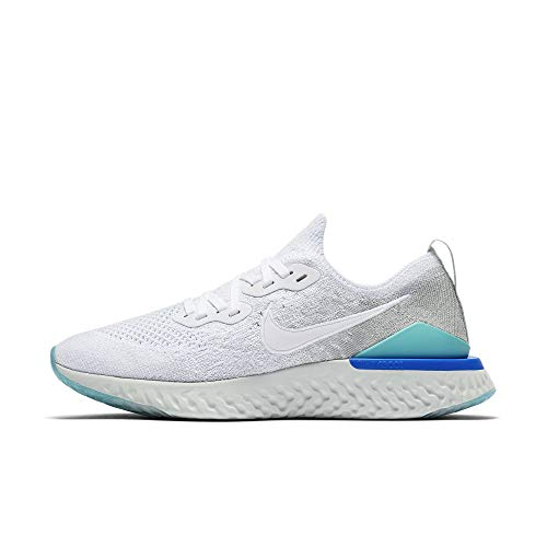 Nike Women's Epic React Flyknit Running Shoe (7.5, White/Silver/Blue)