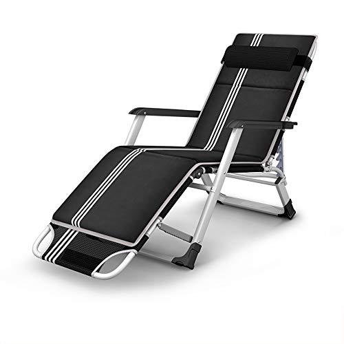FUFU Tumbonas Jardin Exterior Silla tumbona, sillas de patio con silla de gravedad cero Sillón para patios al aire libre Sillón reclinable ajustable en la playa con apoyo para la cabeza 440lbs Negro T