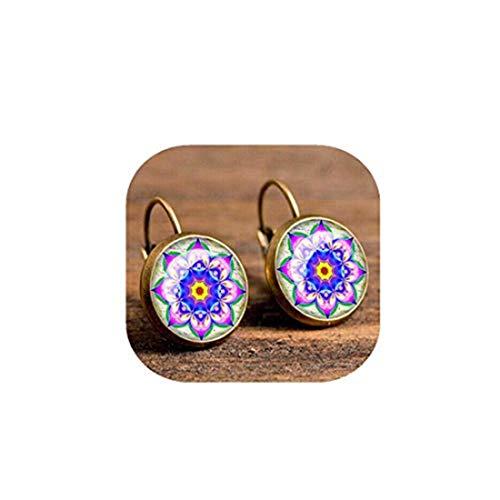 yichahu Pendientes de cristal con diseño de mandala, estilo retro, diseño de flores, color bronce.