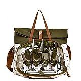 Picknicktasche für 4 Personen, Fahrrad Olivgrün, 28 Stück