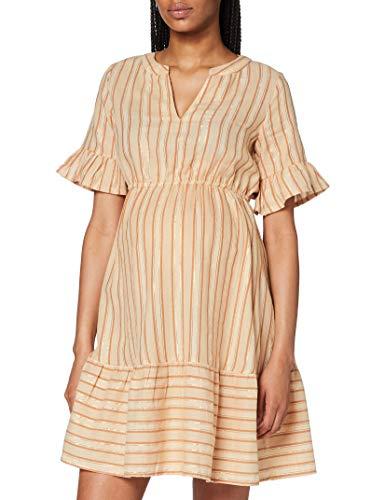 MAMALICIOUS Damen MLMARIANA 2/4 Woven Short Dress Kleid, AOP:AOP Stripes and Lurex Sesame, L