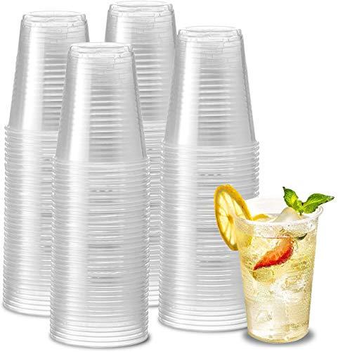 e!Orion Vasos de Plástico Desechables de Polipropileno - Reutilizable, Material Ecológico - Ideal para Fiesta, cumpleaños y Navidad - 200 ml, 100 Unidades