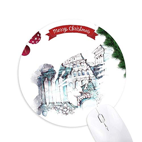 Ruined Rome Architectural Watercolor Painting Round Rubber Maus Pad Weihnachtsbaum Mat
