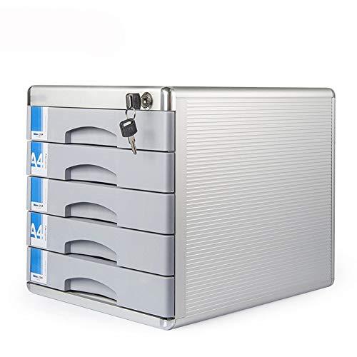 Speichermodul Moderne Locking Mobile File Cabinet 5-Fach-Aluminium-Legierung Desktop Storage Cabinet Desktop-Organizer Box 5-Schicht für Büro, Home Office ( Color : Silver , Size : 300x360x305mm )