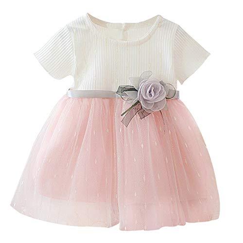 FEESHOW Kleinkind Baby Mädchen Tutu Kleid Kurzarm Rüschen Blumen Prinzessin Kleid Mesh Rock Party Festlich Hochzeit Sommer Outfits Kleidung Weiß 62-68