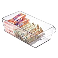 """iDesign Linus Plastic Fridge and Freezer Storage Organizer Bin with Handle, Clear Container for Food, Drinks, Produce Organization, BPA-Free, 11.5"""" x 6"""" x 3.5"""", Clear"""