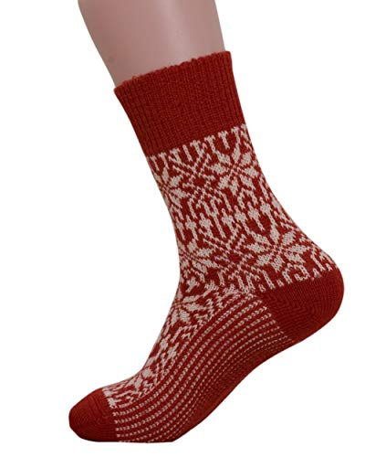 Stern Socken, Blau/Natur, Hirsch Natur, 100% Wolle (kbT), Rot, 4. UK 8-9 / EU 42-43