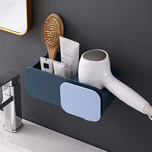 LYZL Estanteria Baño Ducha, Rejilla De Almacenamiento para Secador Pelo, Estante Multifuncional De Pared, Diseño De Broche Flexible, para Baño Ducha(Un Par),Azul