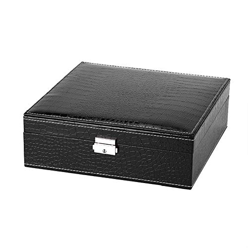 OIHODFHB Cerradura de diseño de joyería pendientes anillos collares caja organizador espejo almacenamiento caso