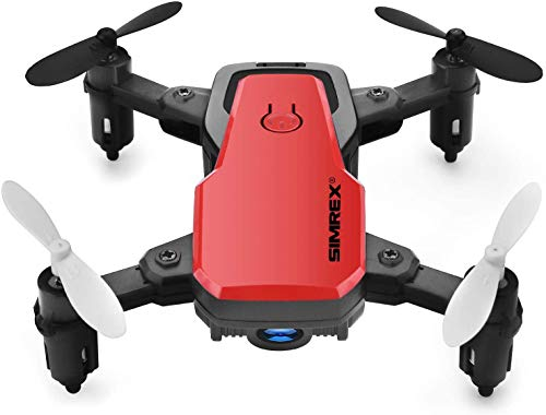 SIMREX X300C Mini Drone RC Quadcopter Foldable Altitude Hold Headless RTF 360 Degree FPV Video WiFi 720P HD Camera 6-Axis Gyro 4CH 2.4Ghz Remote Control Super Easy Fly for Training Red