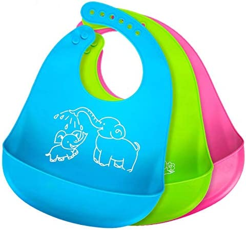 Silicone Bibs for Baby Girl Boy Bibs with Food Catcher Baby Bibs for Eating Easy to Clean Waterproof product image