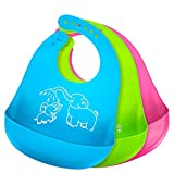 Silicone Bibs for Baby Girl Boy Bibs with Food Catcher Baby Bibs for Eating-Easy to Clean Waterproof Adjustable Fit-Set of 3 Colors(Green/Blue/Pink)