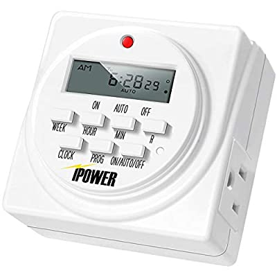 iPower 7 Day Heavy Duty Digital Programmable Electric Timer, Indoor Dual Outlet Switch for Lights, Appliance, Pool Pump, 125VAC, 15A, 60 Hz, 1725W, 1 Pack, White