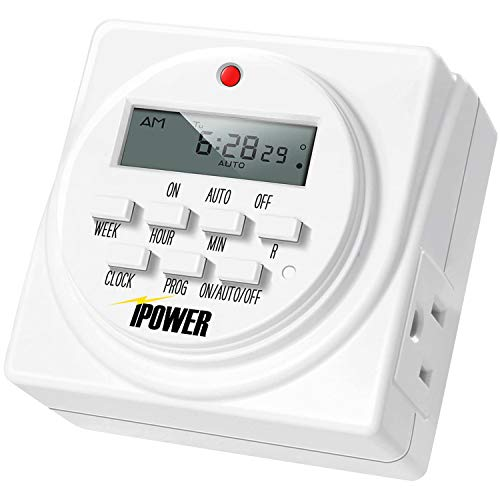 iPower 7 Day Heavy Duty Digital Programmable Electric Timer, Indoor Dual Outlet Switch for Lights, Appliance, Pool Pump, 125VAC, 15A, 60 Hz, 1725W, White, 1 Pack
