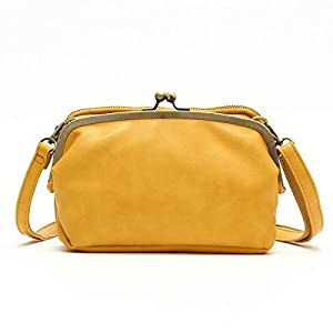 お財布ショルダーバッグ お財布ポシェット 財布 がま口バッグ ショルダーバッグ がま口ショルダー 斜め掛け 多収納 2way レトロ ポシェット (イエロー)