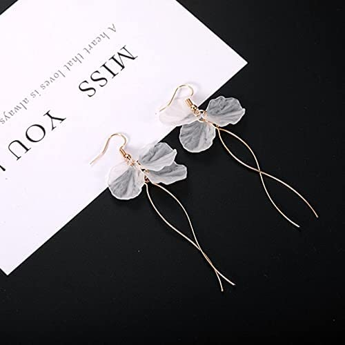 2018 New Korean White Acrylic Petal Long Clip on Earrings for Women Accessories Earings Fashion Jewelry