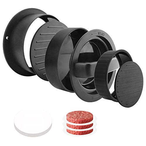 Eleganted Burgerpresse Burgerpresse Patty Maker mit 200 Patty Papers 3 in 1 Burger Patty Presse für Burger Patties oder Frikadellen Robustes Grillzubehör spülmaschinenfeste Hamburger Presse