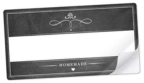 10 STICKER RECHTECKIG SCHWARZ WEIß im Kreidetafel Look Homemade mit Freitextfeld für Chutneys, Apfelsaft, Apfelmus, Sirup, Limonade u.v.m. Etiketten Format 96 mm x 50,8 mm, matt