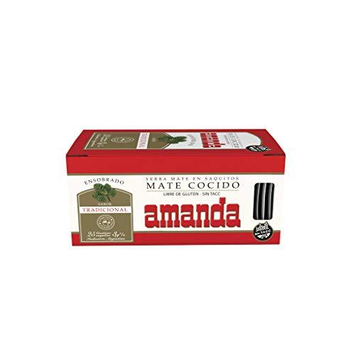 Bolsas de té sabor yerba mate Amanda original. x25.