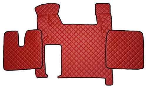 Unbekannt Fußmatten und Motorabdeckung für Truck TGX LKW Zubehör Umweltfreundlichem Kunstleder Rot