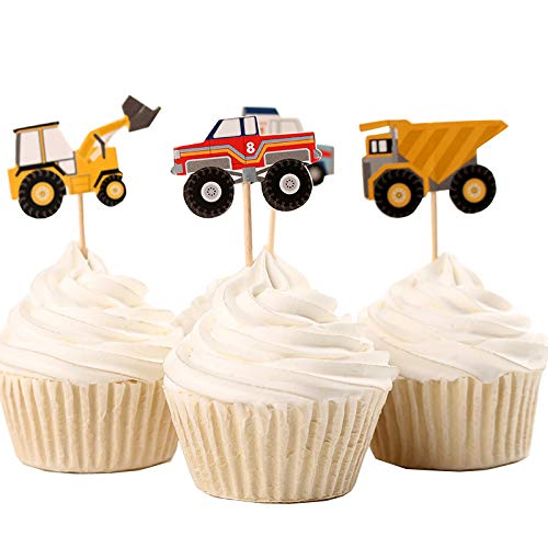 Fumee 24 Cupcake Topper Jungen favoriat Fruit Picks Kuchen dekorieren Werkzeug für Party Supplies Engineering vehicles
