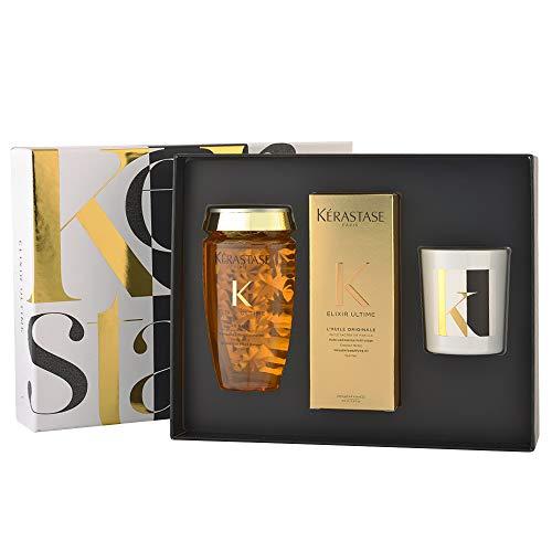 Kerastase - Coffret Cadeau série limitée - Gamme Elixir Ultime - 1 Bain Elixir Ultime 250ml, 1 huile Elixir Ultime 100ml et une Magnifique bougie au parfum d'Elixir Utime