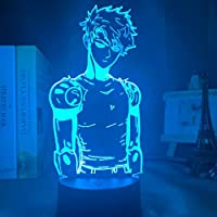 アクリルLEDナイトライトライトランプアニメ1パンチマンジェノスフィギュアデスク3Dランプ子供用ルーム装飾的なナイトライトマンガプレゼント-接する