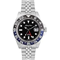 Mathey-Tissot Mathy Vintage GMT Black Dial Batman Bezel Men's Watch