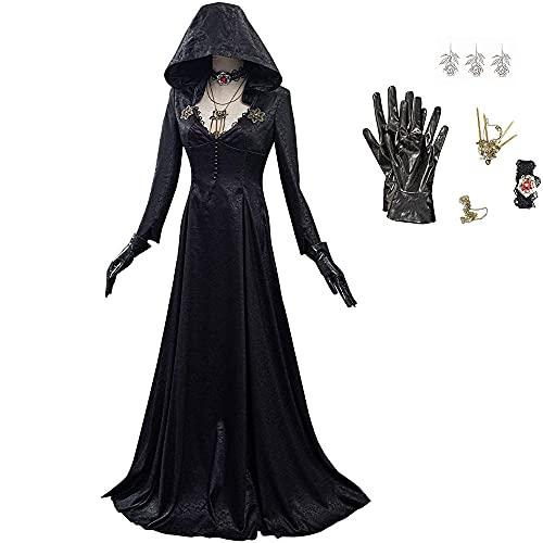 DANGANCOS Resident Evil Village Daniela Halloween Vampir Langes Kleid Karneval Cosplay Kostüm Halloween Mittelalterliches Viktorianisches Retro Kleid Damen Outfit