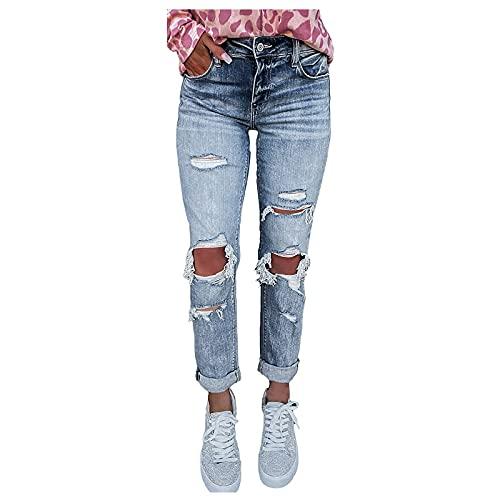 pamkyaemi Pantalones vaqueros de cintura alta para mujer, ajustados Y2K, elásticos, ajustados, con agujeros, desgarrados, de un solo color, elásticos, estilo boyfriend dnim, azul, XXL