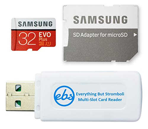 Samsung EVO+ 32 GB Micro SD Karte mit Adapter für Samsung Phone funktioniert mit Galaxy A52 5G, A72, A52 Smartphone (MB-MC32) Bundle mit (1) Everything But Stromboli SD & MicroSDHC Speicherkartenleser