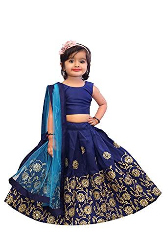 E Ethnic Store Girl's Silk Readymade Lehenga Choli