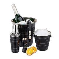 relaxdays set da cocktail per alcolici da 5 pz, acciaio, shaker 500 ml, porta ghiaccio, pinze, cestello, misurino,nero