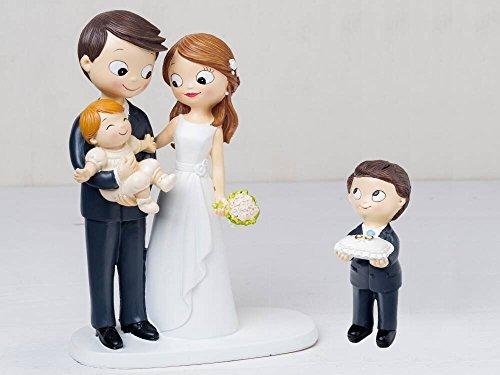Momparler1870 Figur Braut Torte Baby mit Armen und Kind mit Kissen Ringe