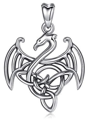 Jewelry Trends Celtic Dragon Guardian Sterling Silver Pendant Necklace 18'