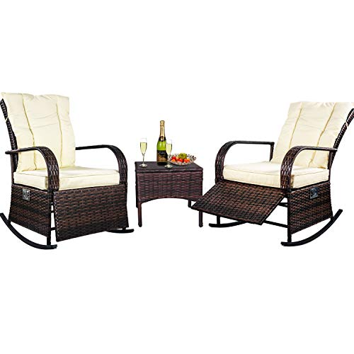 ENSTVER 3 Piece Reclining Wicker Outdoor Lounge Chair Set,Patio Conversation Rocking Chairs Bistro Set with Coffee Table and Beige Cushions